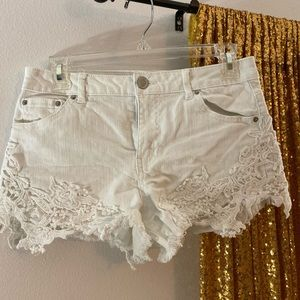 Rue 21 White Lace Jean Shorts